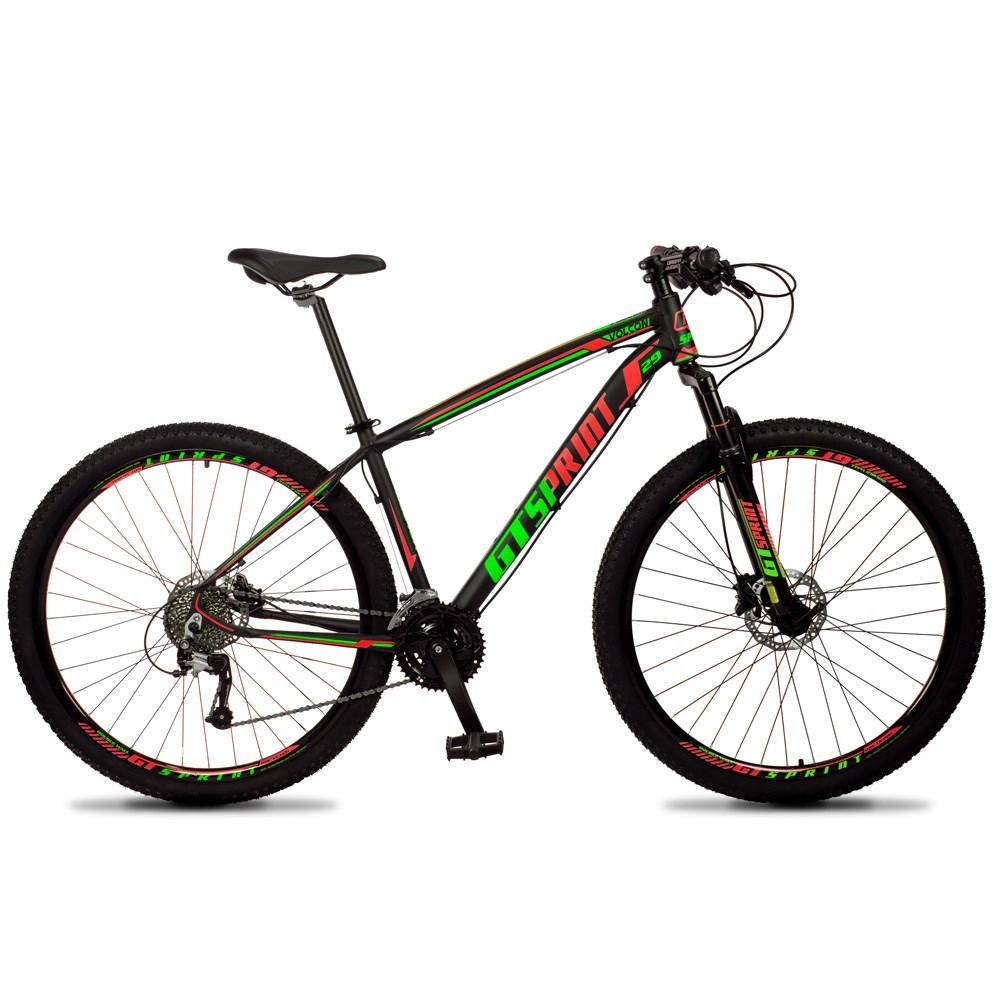 Bicicleta Volcon Quadro 15 Aro 29 Alumínio 27v Freio Hidráulico Preto Vermelho Verde - GT Sprint