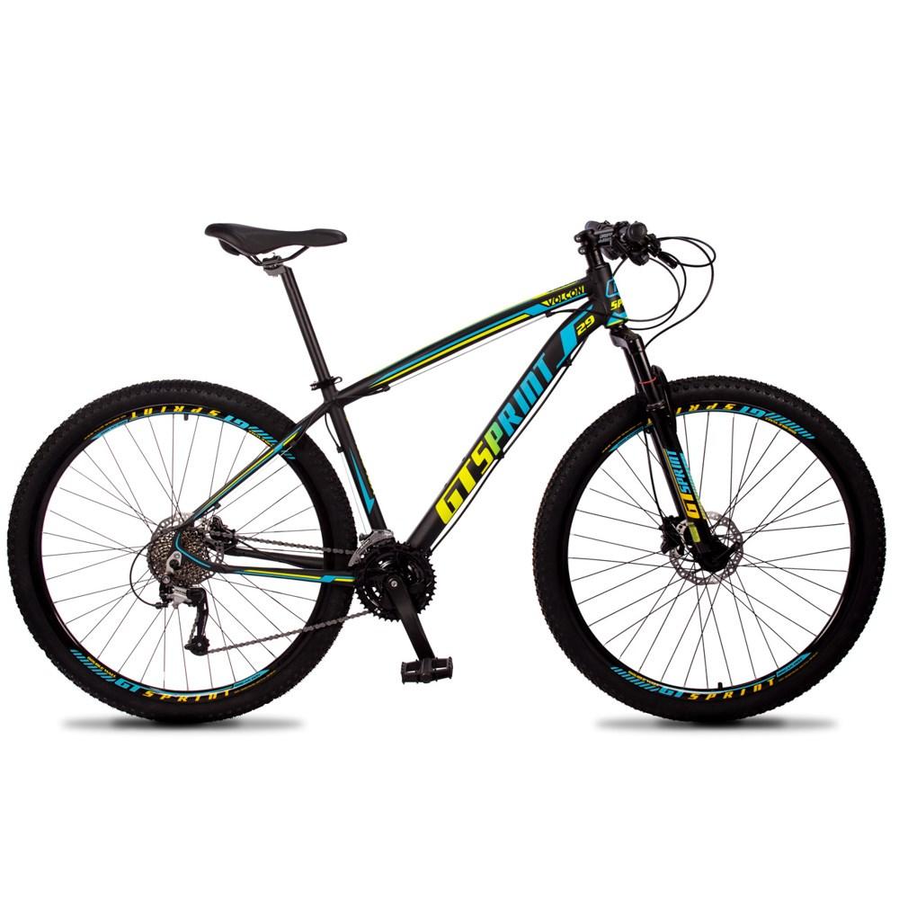 Bicicleta Volcon Quadro 19 Aro 29 Alumínio 27v Freio Hidráulico Preto Amarelo Azul - GT Sprint