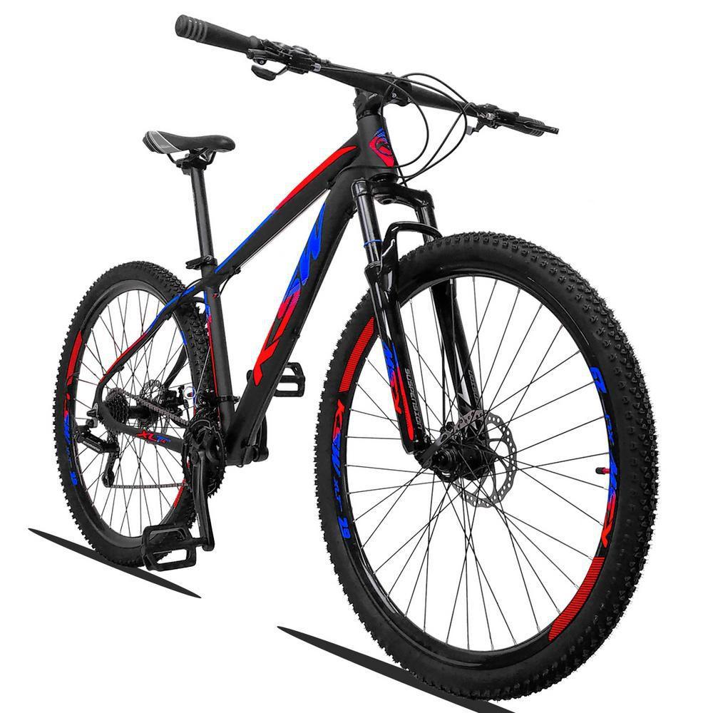 Bicicleta XLT Aro 29 Quadro 15 Alumínio 21 Marchas Suspensão Freio a Disco Preto Azul Red - KSW
