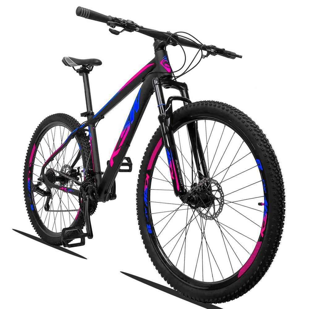 Bicicleta XLT Aro 29 Quadro 21 Alumínio 21 Marchas Suspensão Freio a Disco Preto Azul Rosa - KSW