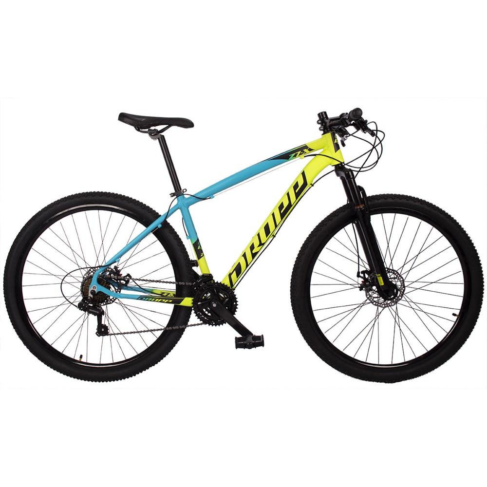 Bicicleta Z7-X MTB Quadro 15 Aro 29 Alumínio 21v Freio Disco Mecânico Amarelo Azul - Dropp