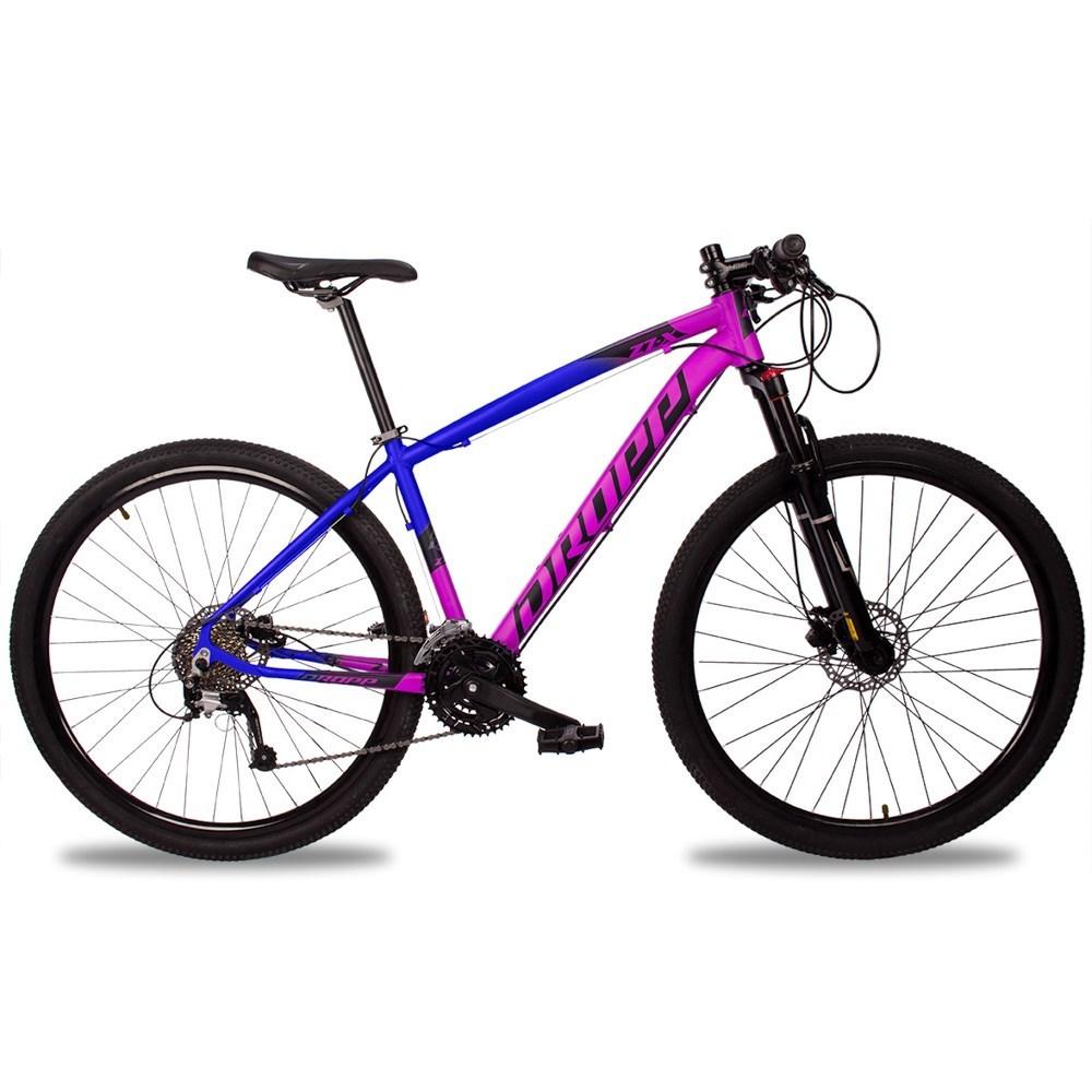 Bicicleta Z7-X Quadro 17 Aro 29 Alumínio 27v Suspensão Trava Freio Hidráulico Rosa Azul - Dropp
