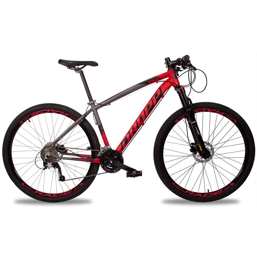 Bicicleta Z7-X Quadro 19 Aro 29 Alumínio 27v Suspensão Trava Freio Hidráulico Cinza Vermelho - Dropp