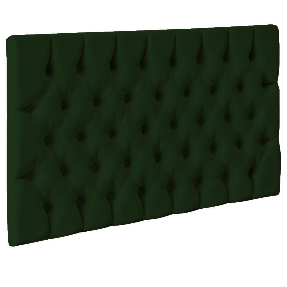 Cabeceira Cama Box Painel Solteiro Capitonê Amy L02 Suede Verde Musgo 90 cm - Lyam Decor