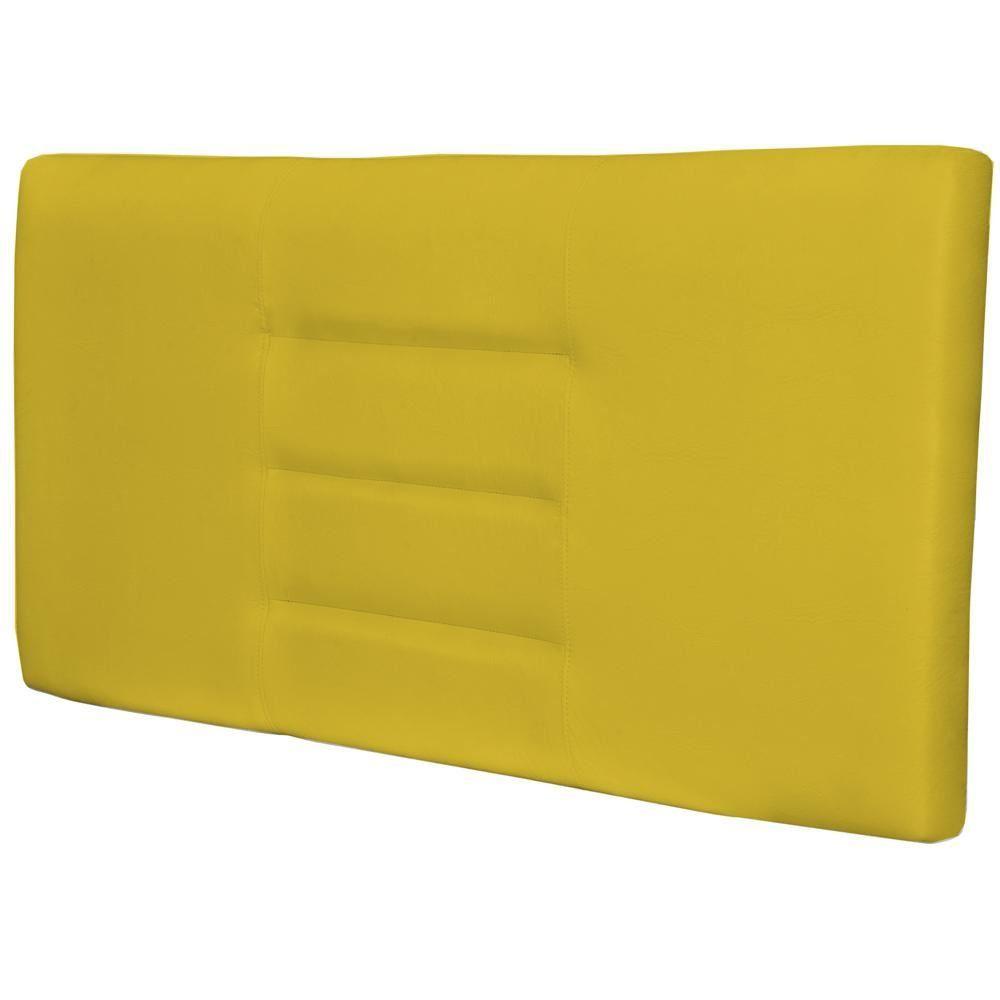 Cabeceira Painel Para Quarto de Casal Sabrina W01 Corino Amarelo 1,40 - Lyam Decor