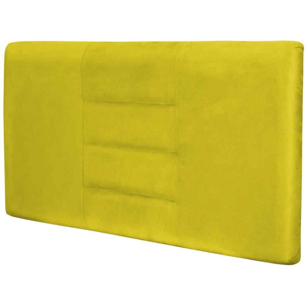Cabeceira Painel Para Quarto de Casal Sabrina W01 Suede Amarelo 1,60 - Lyam Decor