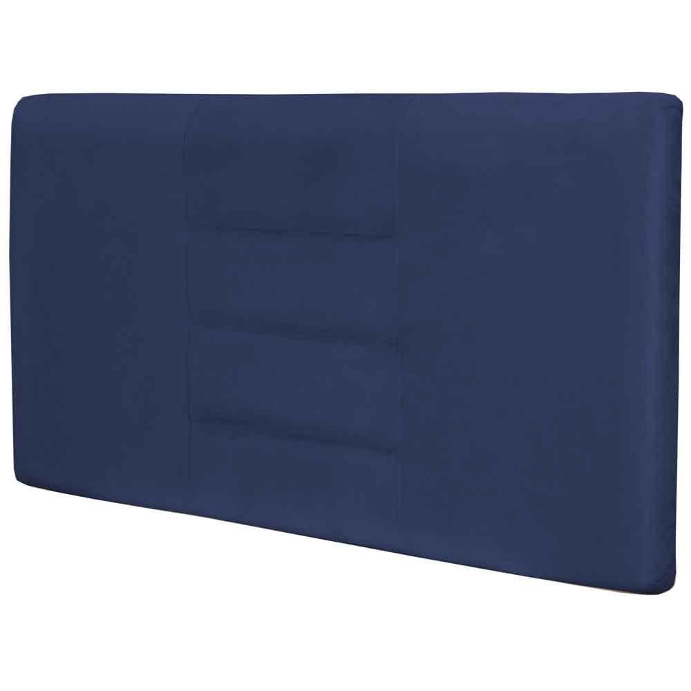 Cabeceira Painel Para Quarto de Casal Queen Sabrina W01 Suede Azul Marinho 1,60 - Lyam Decor