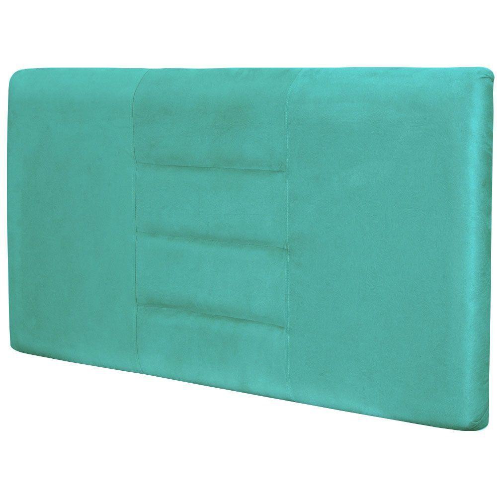 Cabeceira Painel Para Quarto de Casal Sabrina W01 Suede Azul Tiffany 1,40 - Lyam Decor