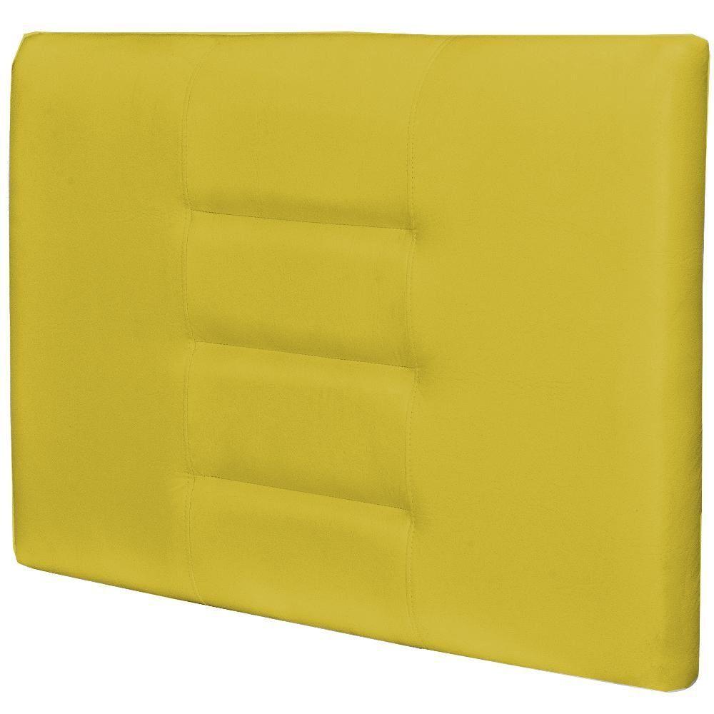 Cabeceira Painel Para Quarto Solteiro Sabrina W01 Corino Amarelo 1,00 - Lyam Decor