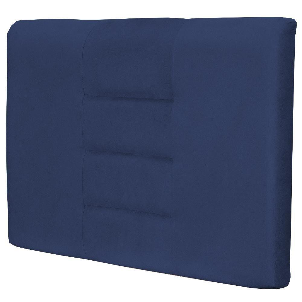 Cabeceira Painel Para Quarto Solteiro Sabrina W01 Suede Azul Marinho 1,00 - Lyam Decor
