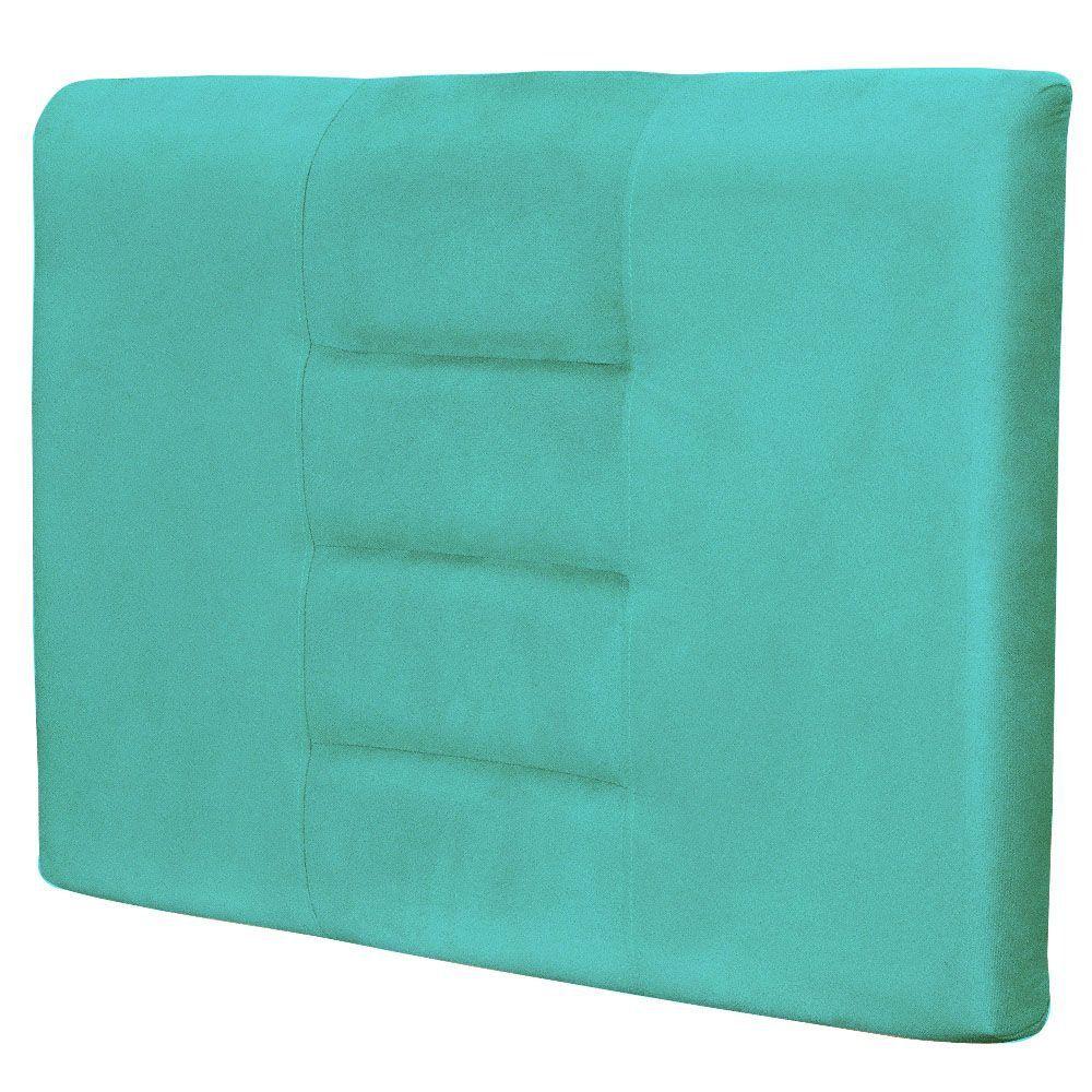 Cabeceira Painel Para Quarto Solteiro Sabrina W01 Suede Azul Tiffany 1,00 - Lyam Decor