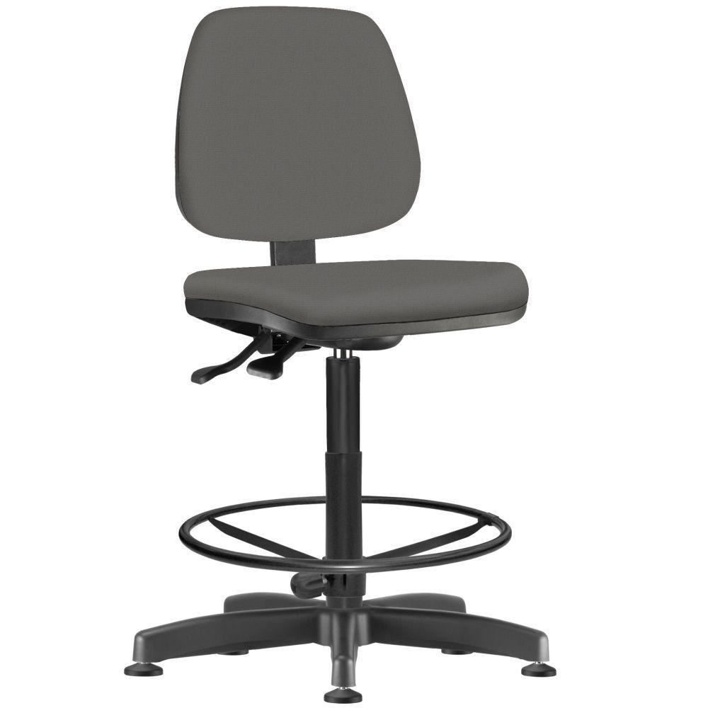 Cadeira Caixa Alta Giratória Job L02 Couro Sintético Cinza - Lyam Decor