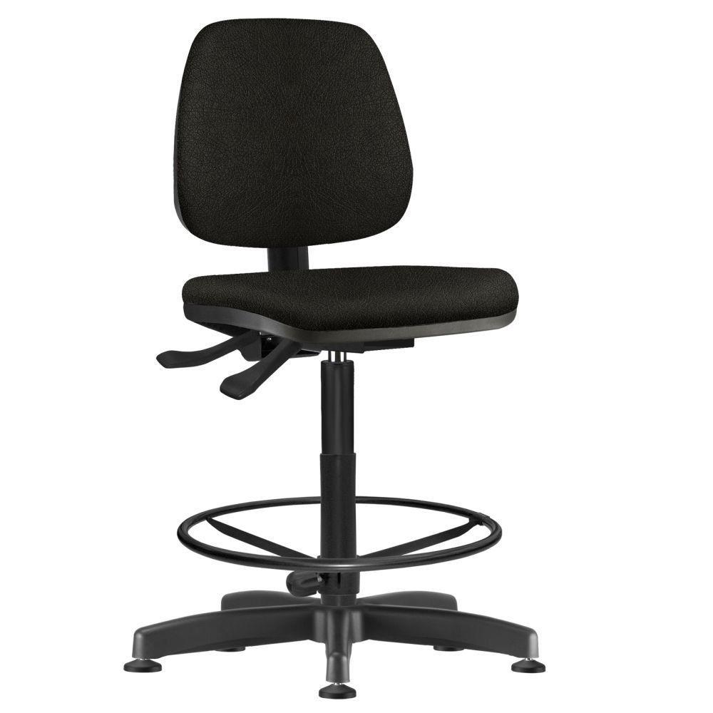 Cadeira Caixa Alta Giratória Job L02 Couro Sintético Preto - Lyam Decor