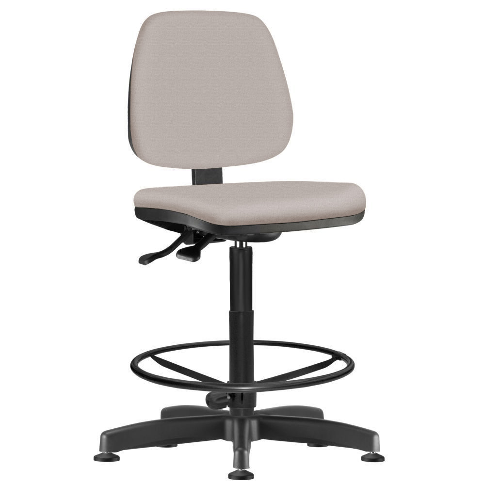 Cadeira Caixa Alta Giratória Job L02 Linho Bege - Lyam Decor