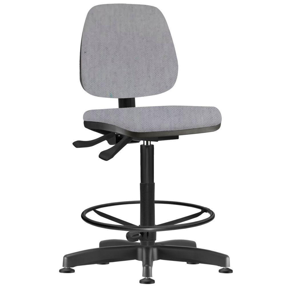 Cadeira Caixa Alta Giratória Job L02 Linho Cinza - Lyam Decor