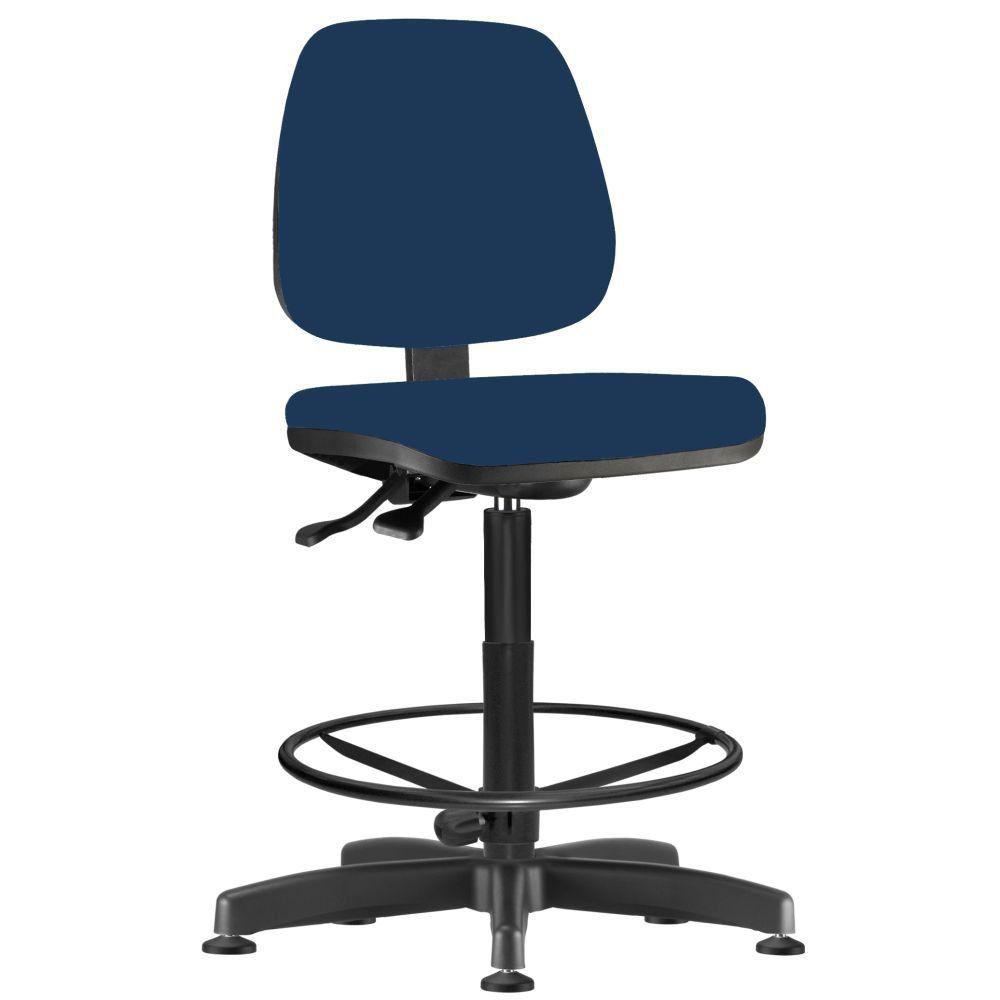 Cadeira Caixa Alta Giratória Job L02 Crepe Azul Marinho - Lyam Decor