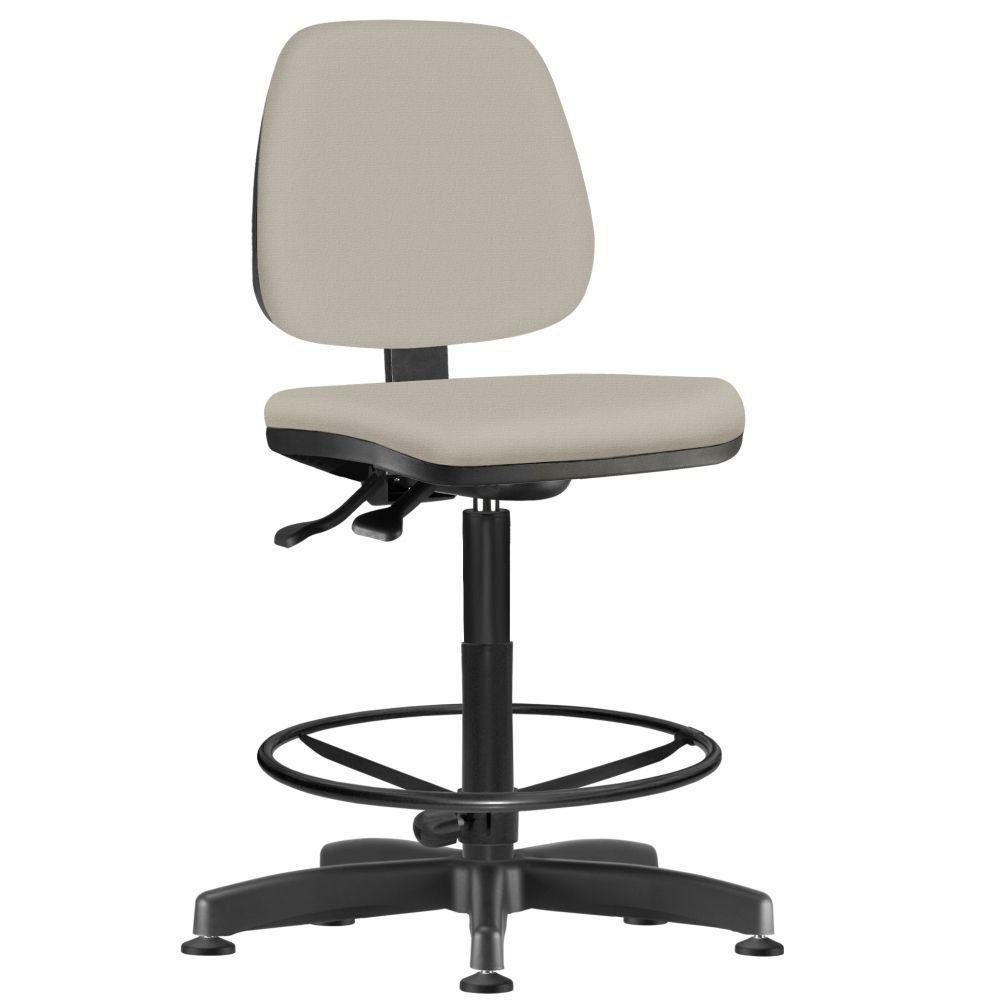 Cadeira Caixa Alta Giratória Job L02 Suede Bege - Lyam Decor