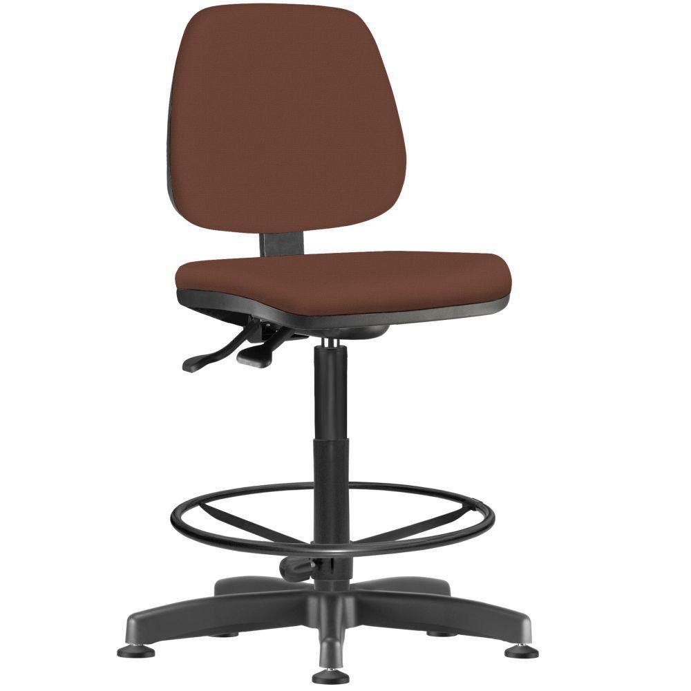Cadeira Caixa Alta Giratória Job L02 Suede Marrom - Lyam Decor