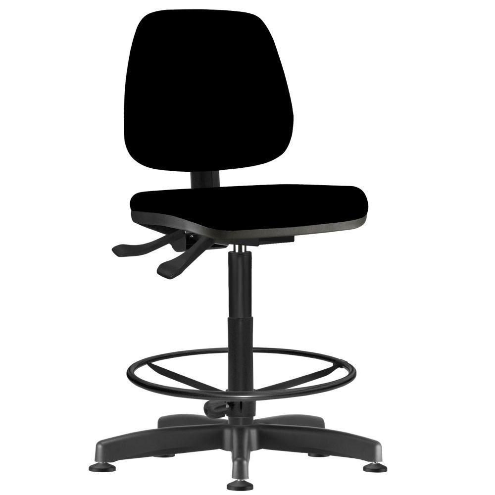 Cadeira Caixa Alta Giratória Job L02 Crepe Preto - Lyam Decor