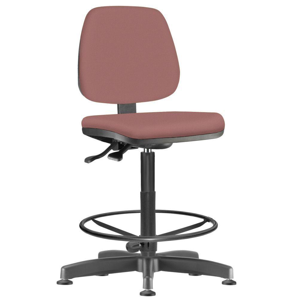 Cadeira Caixa Alta Giratória Job L02 Suede Rosê- Lyam Decor