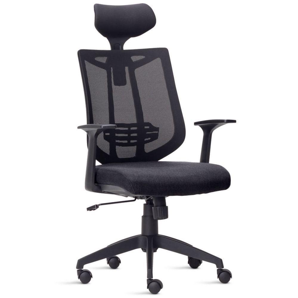 Cadeira de Escritório Presidente Executiva Office Aika F02 Tela Mesh Tecido Preto - Lyam Decor