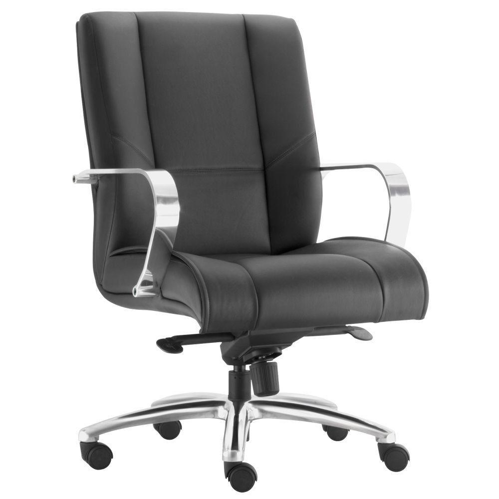Cadeira de Escritório Diretor Executiva New Onix F02 Couro Ecológico Preto - Lyam Decor