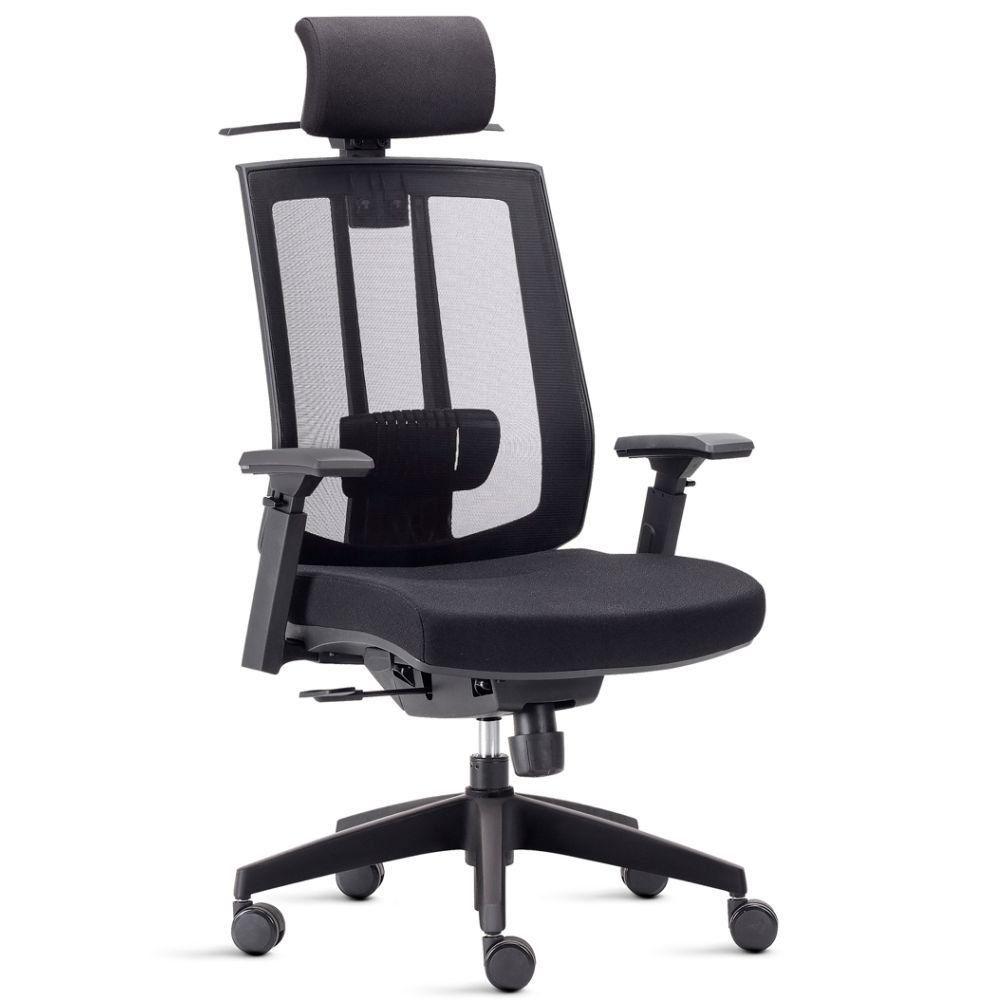 Cadeira de Escritório Giratória Presidente Executiva Song F02 Preto - Lyam Decor