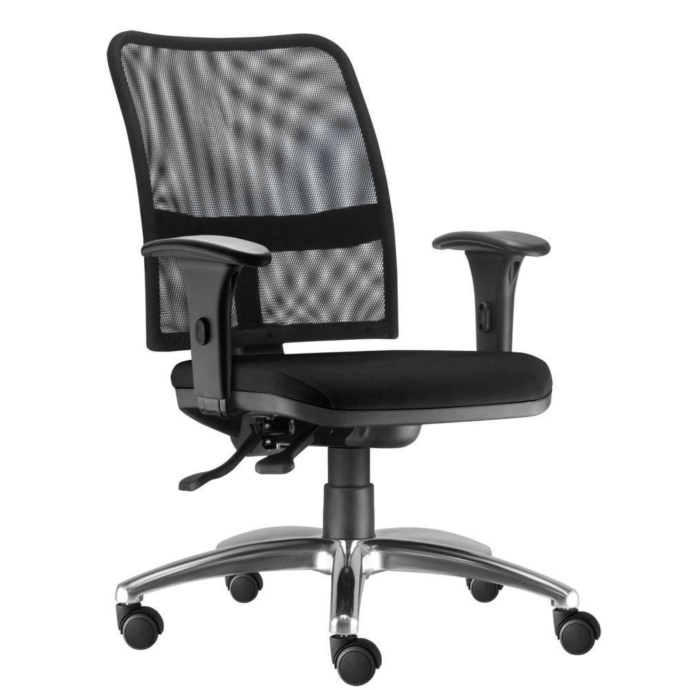Cadeira de Escritório Executiva Giratória Soul L02 Cromado Couro Sintético Preto - Lyam Decor