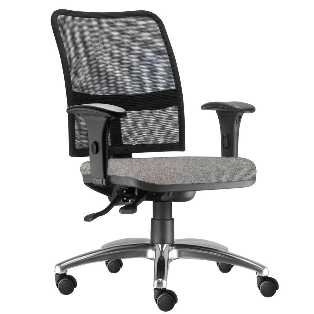 Cadeira de Escritório Executiva Giratória Soul L02 Cromado Linho Cinza Escuro - Lyam Decor