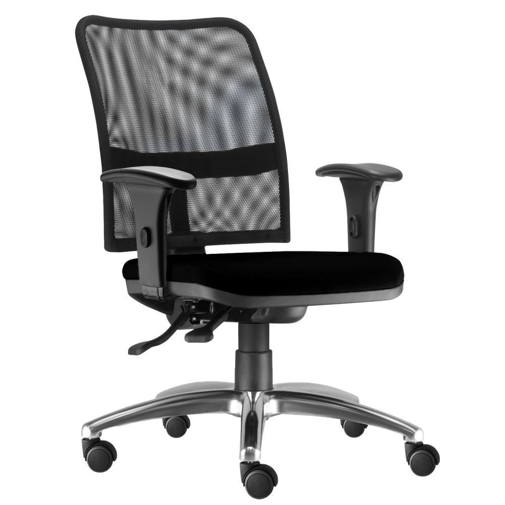 Cadeira de Escritório Executiva Giratória Soul L02 Cromado Crepe Preto - Lyam Decor