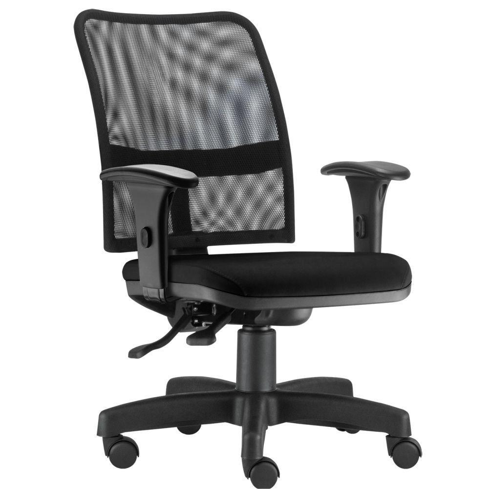 Cadeira de Escritório Executiva Giratória Soul L02 Preto Couro Sintético Preto - Lyam Decor