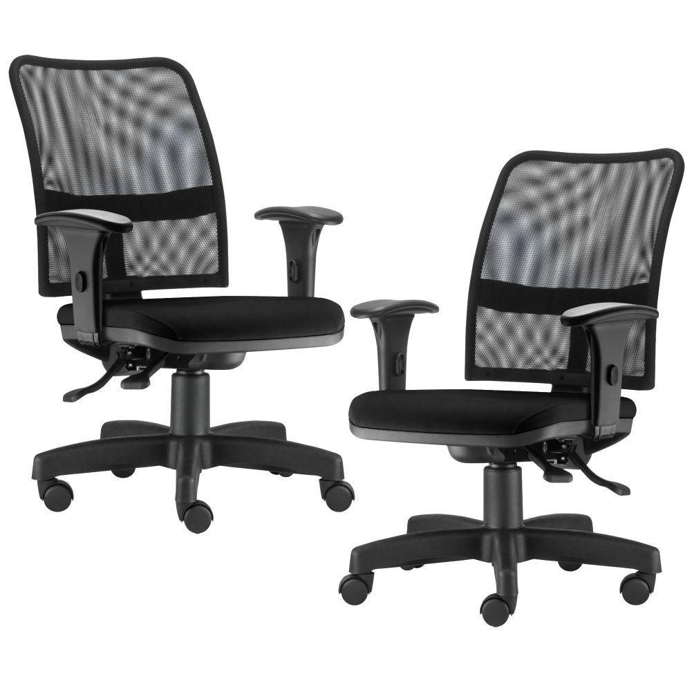 Kit 02 Cadeiras de Escritório Executiva Giratória Soul L02 Preto Couro Sintético Preto - Lyam Decor