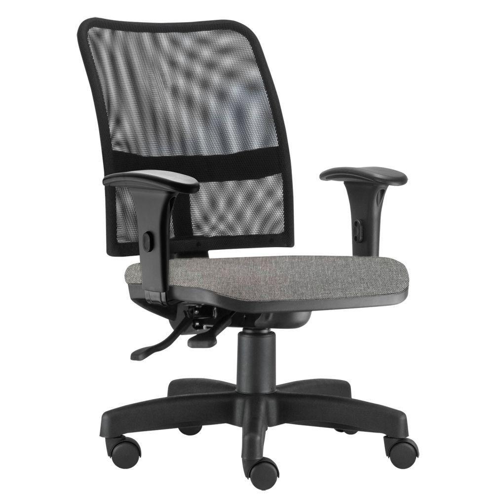 Cadeira de Escritório Executiva Giratória Soul L02 Preto Linho Cinza Escuro - Lyam Decor