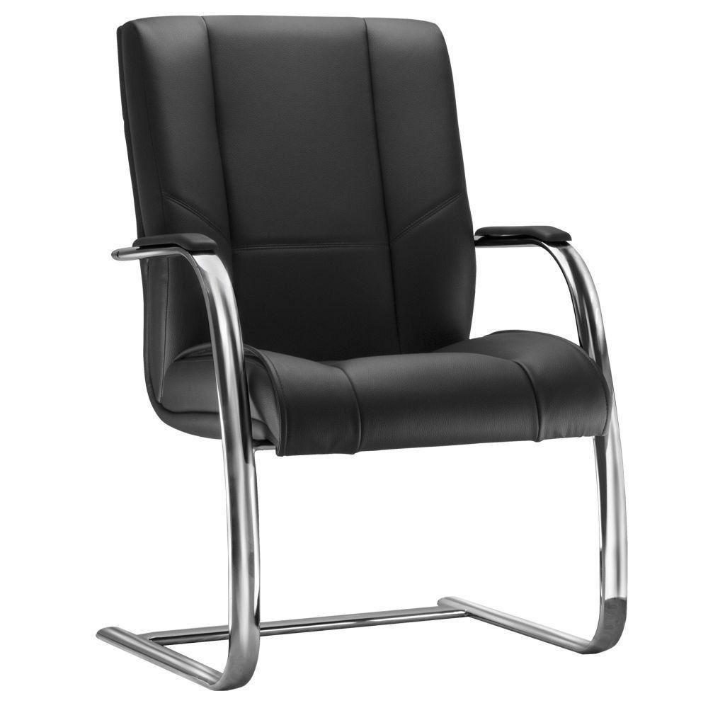 Cadeira de Escritório Fixa Executiva New Onix F02 Couro Ecológico Preto - Lyam Decor