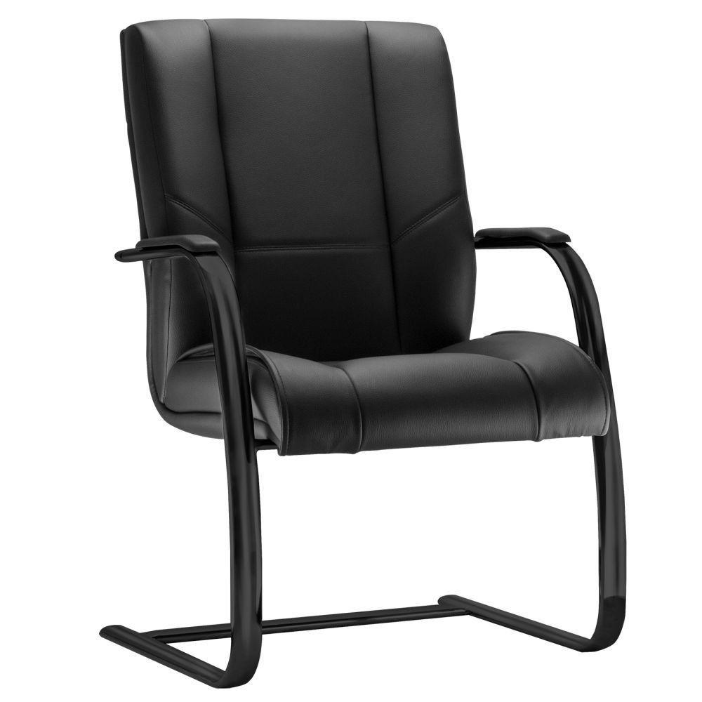 Cadeira de Escritório Fixa Preto Executiva New Onix F02 Couro Ecológico Preto - Lyam Decor