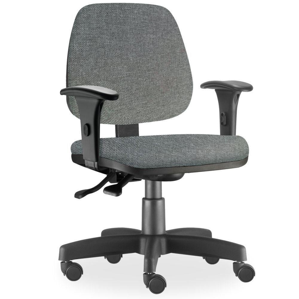 Cadeira de Escritório Giratória Executiva Ergonômica Job L02 Linho Cinza Escuro - Lyam Decor
