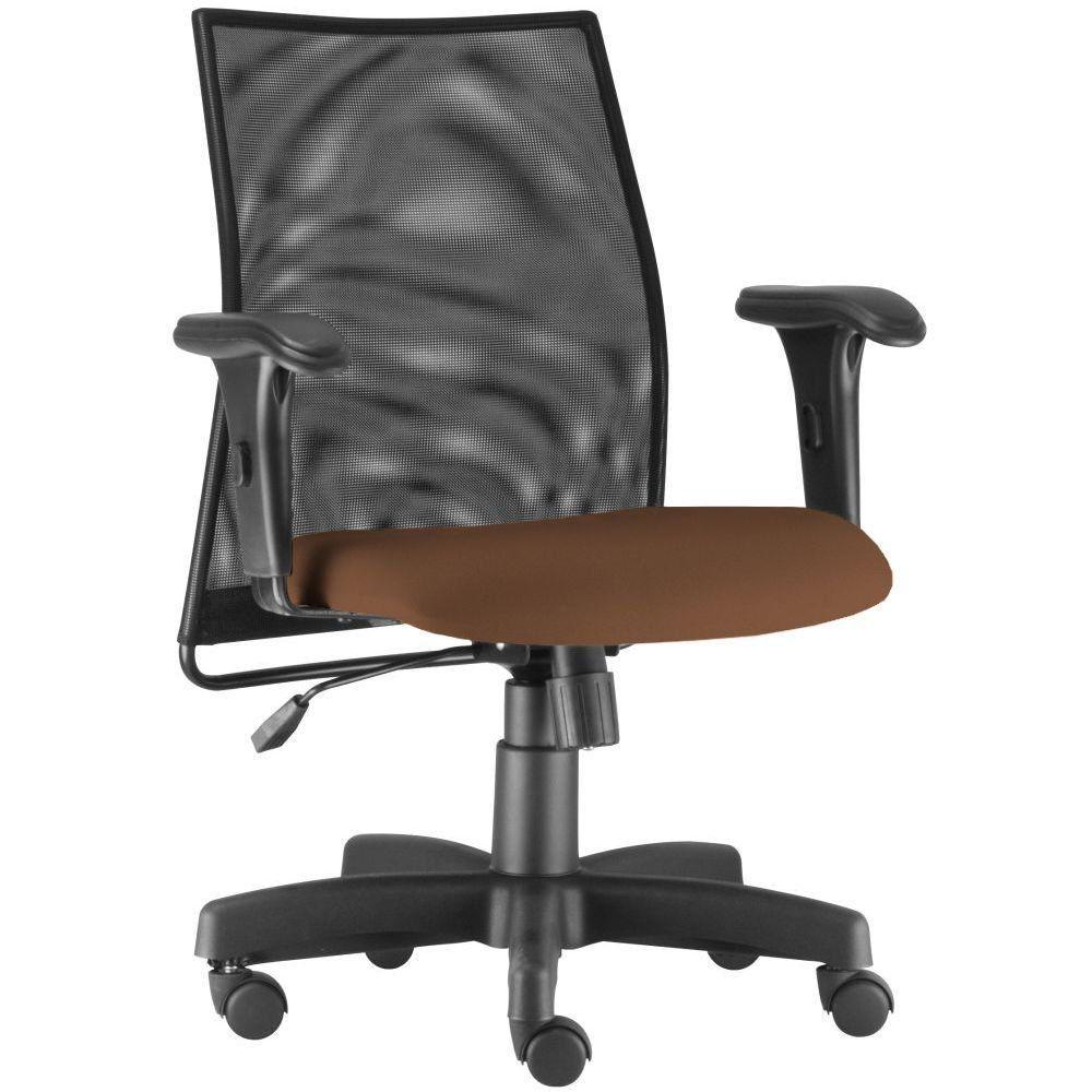Cadeira de Escritório Giratória Executiva Ergonômica Liss L02 Couro Sintético Camel - Lyam Decor