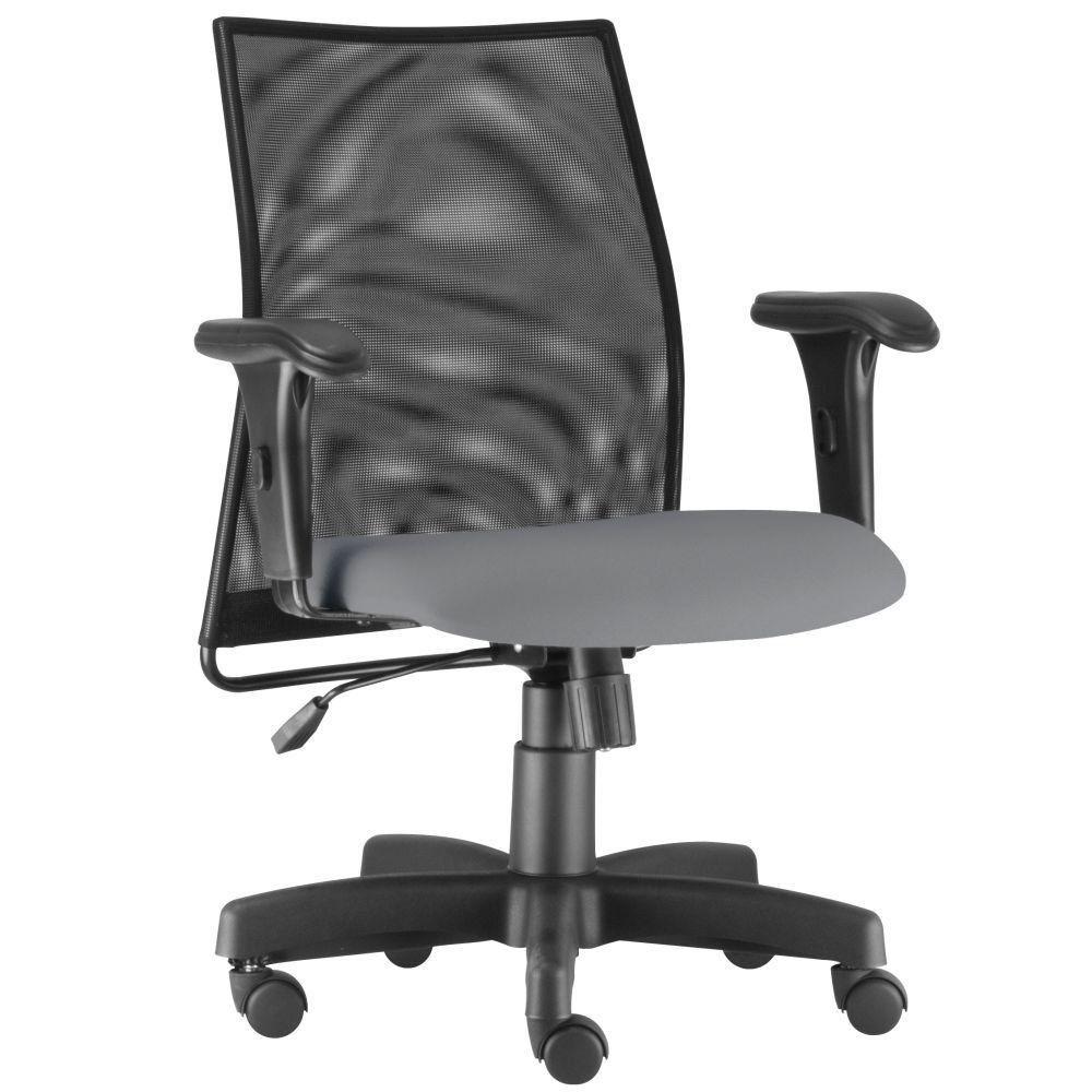 Cadeira de Escritório Giratória Executiva Ergonômica Liss L02 Couro Sintético Cinza - Lyam Decor