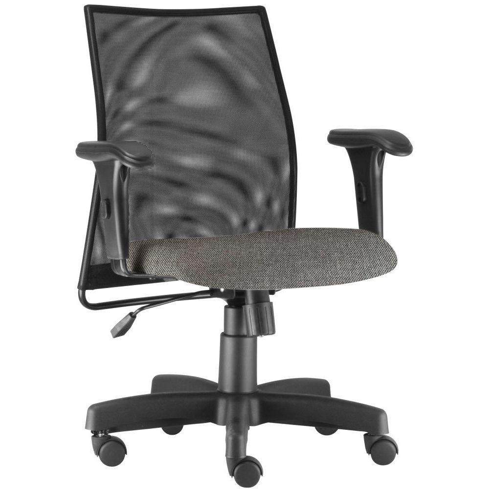 Cadeira de Escritório Giratória Executiva Ergonômica Liss L02 Linho Cinza Escuro - Lyam Decor