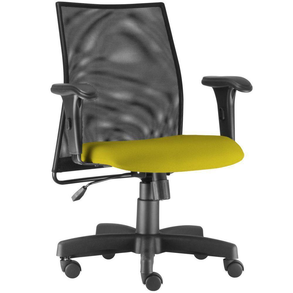 Cadeira de Escritório Giratória Executiva Ergonômica Liss L02 Suede Amarelo - Lyam Decor