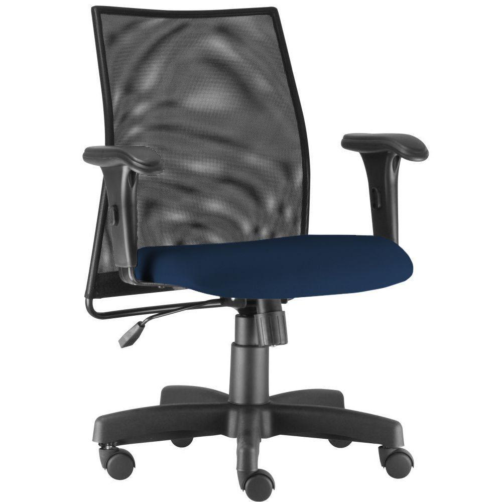 Cadeira de Escritório Giratória Executiva Ergonômica Liss L02 Crepe Azul Marinho - Lyam Decor
