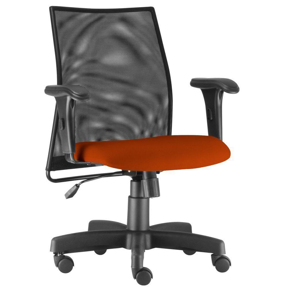 Cadeira de Escritório Giratória Executiva Ergonômica Liss L02 Suede Laranja - Lyam Decor