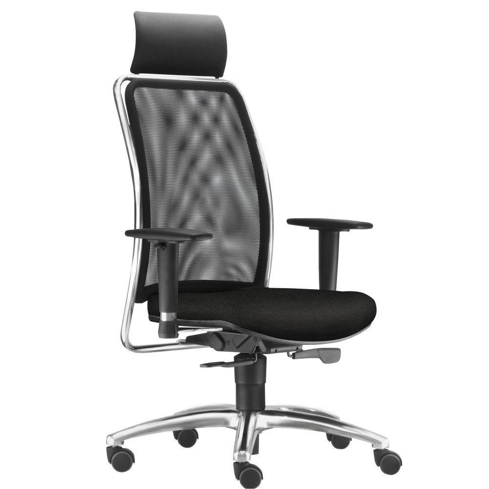 Cadeira de Escritório Giratória Presidente Soul L02 Cromado Couro Sintético Preto - Lyam Decor