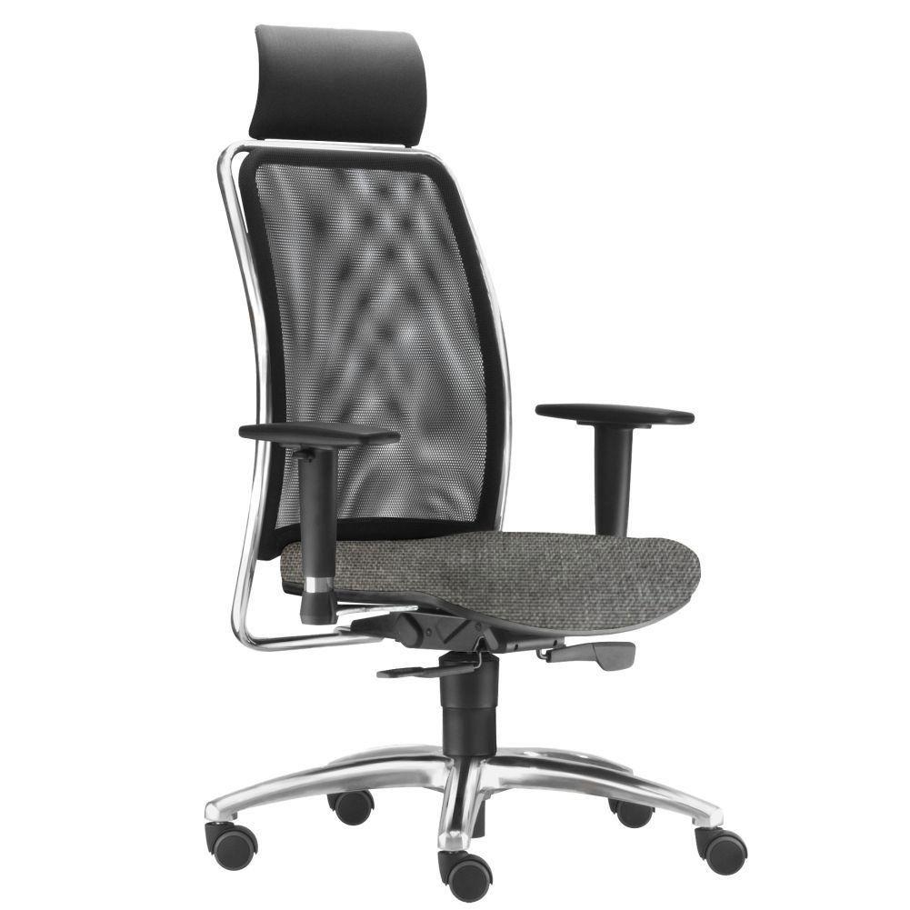 Cadeira de Escritório Giratória Presidente Soul L02 Cromado Linho Cinza Escuro - Lyam Decor