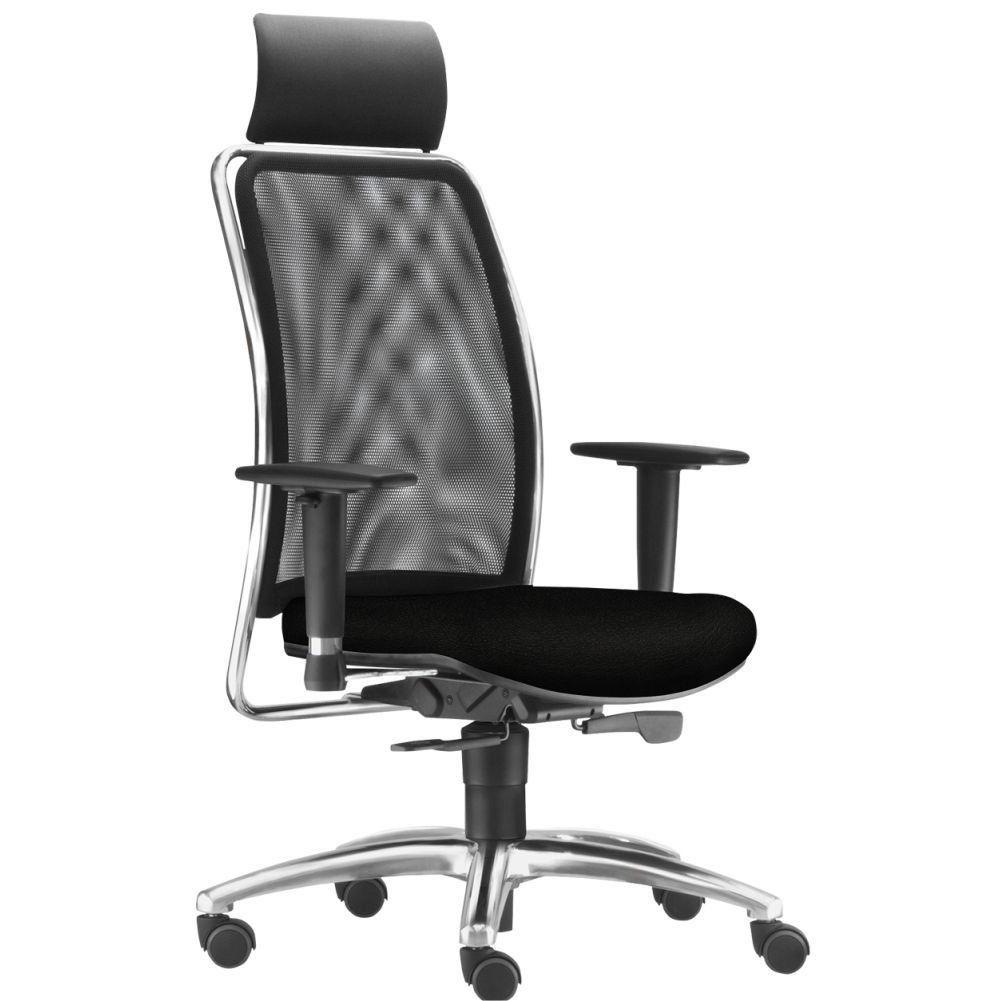 Cadeira de Escritório Giratória Presidente Soul L02 Cromado Crepe Preto - Lyam Decor