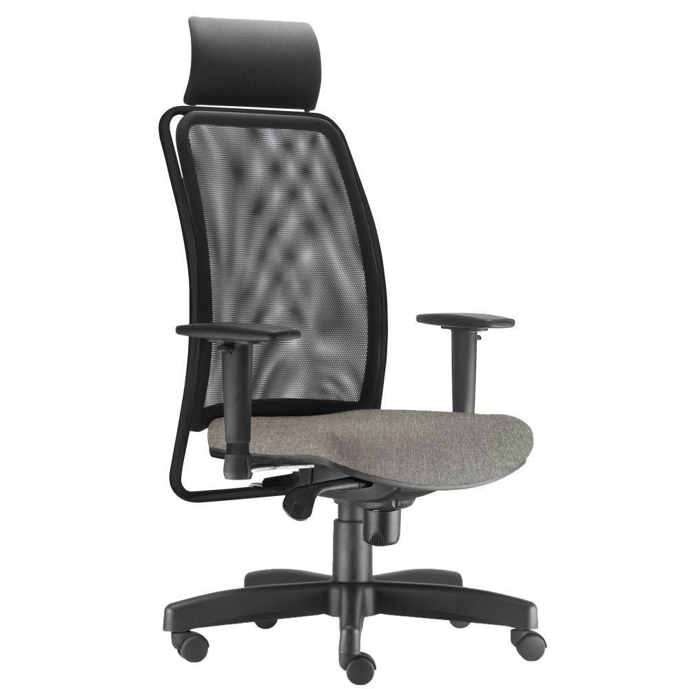 Cadeira de Escritório Giratória Presidente Soul L02 Preto Linho Cinza Escuro - Lyam Decor