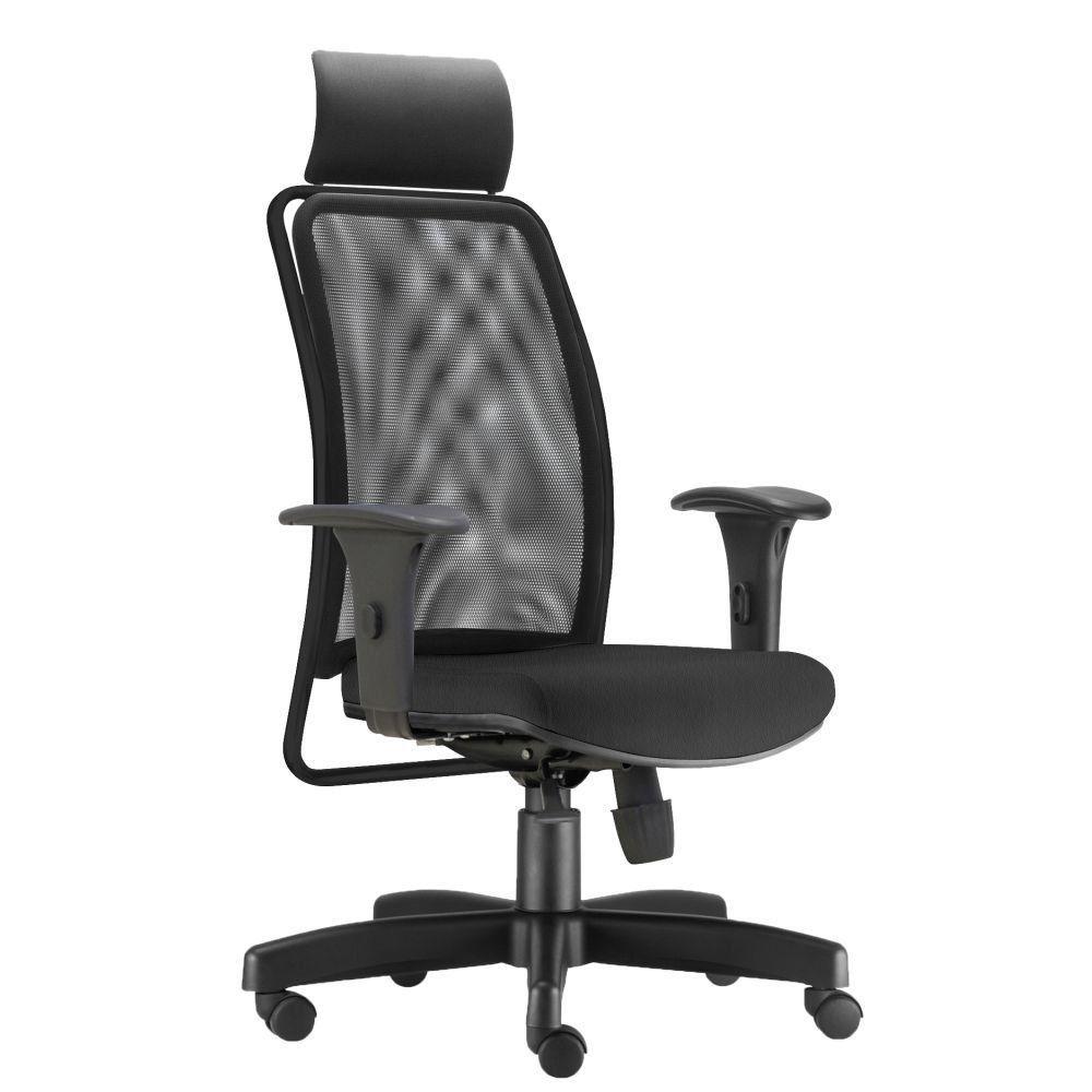 Cadeira de Escritório Giratória Presidente Soul L02 Preto Couro Sintético Preto - Lyam Decor