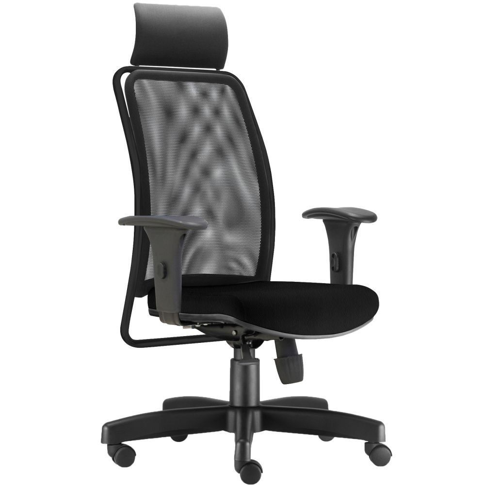 Cadeira de Escritório Giratória Presidente Soul L02 Preto Crepe Preto - Lyam Decor