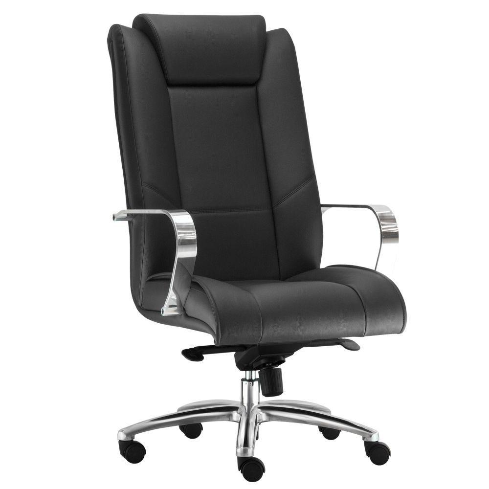 Cadeira de Escritório Presidente Executiva New Onix F02 Couro Ecológico Preto - Lyam Decor