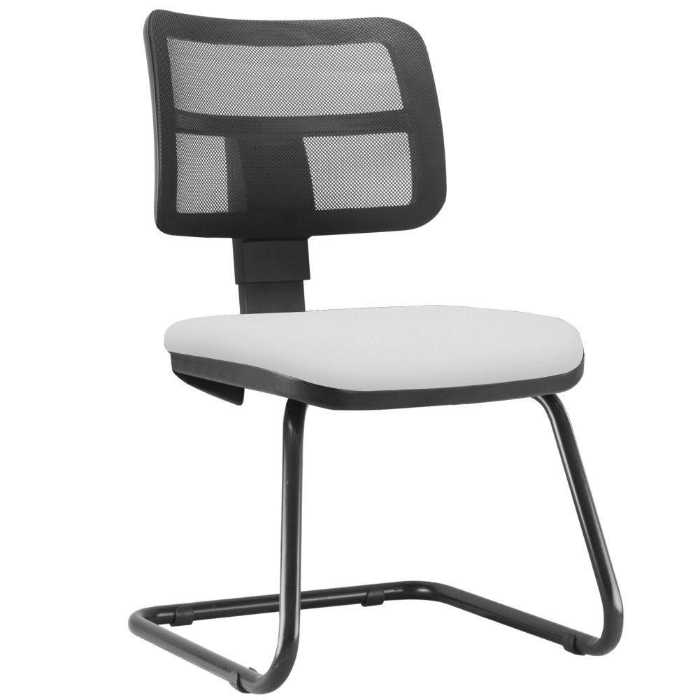 Cadeira de Escritório Recepção Fixa Zip L02 Couro Sintético Branco - Lyam Decor